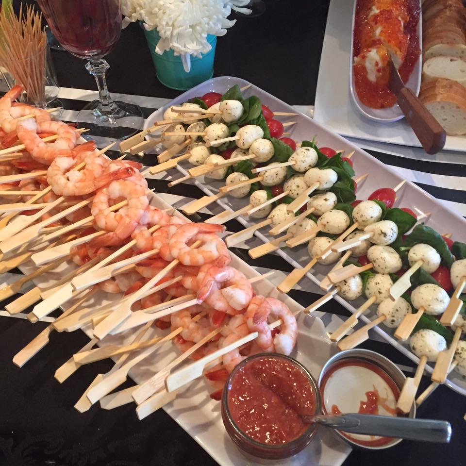 With Shrimp skewers and Caprese salad skewers.